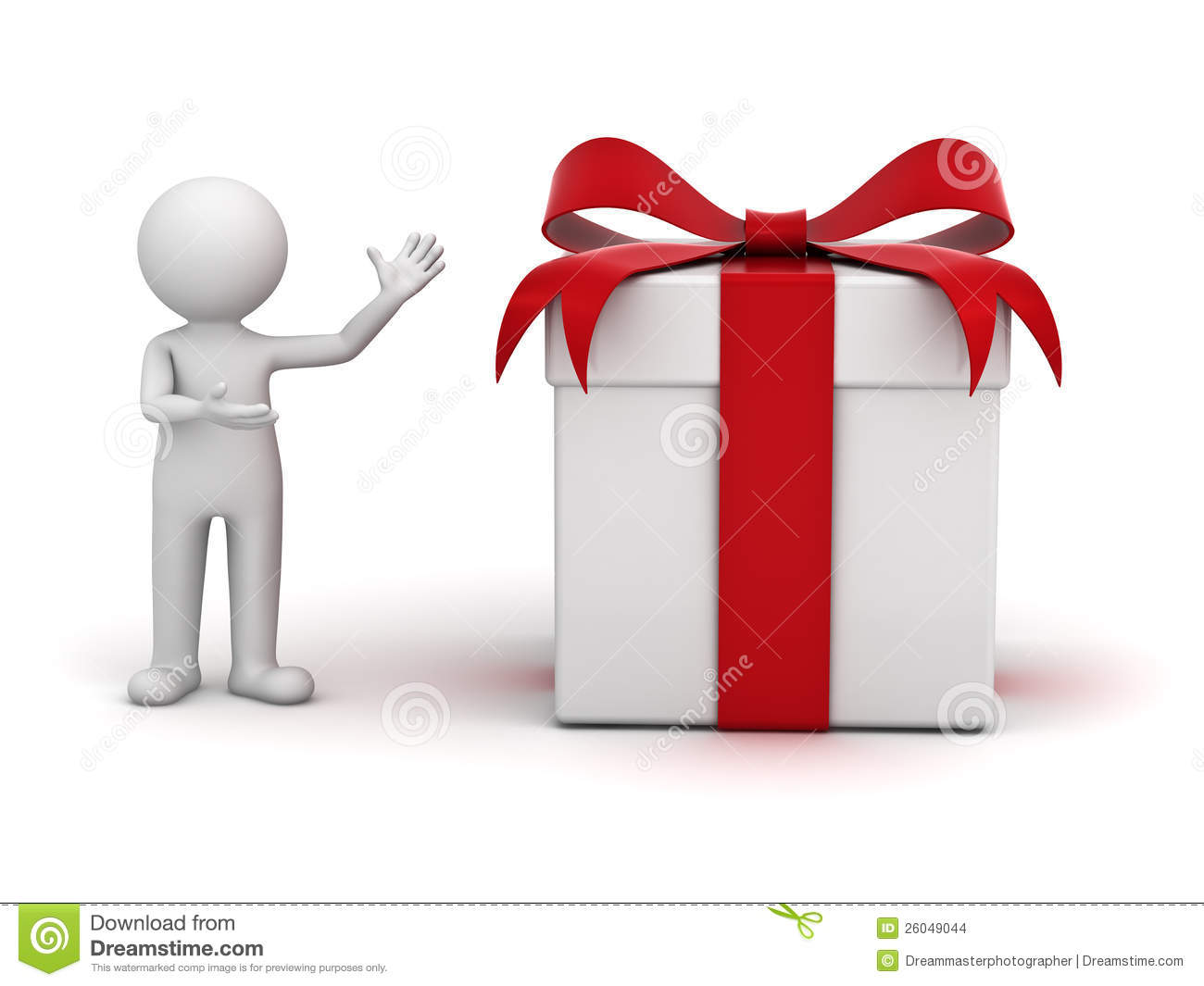 3d Man Presenting Gift Box Stock Images Image 26049044