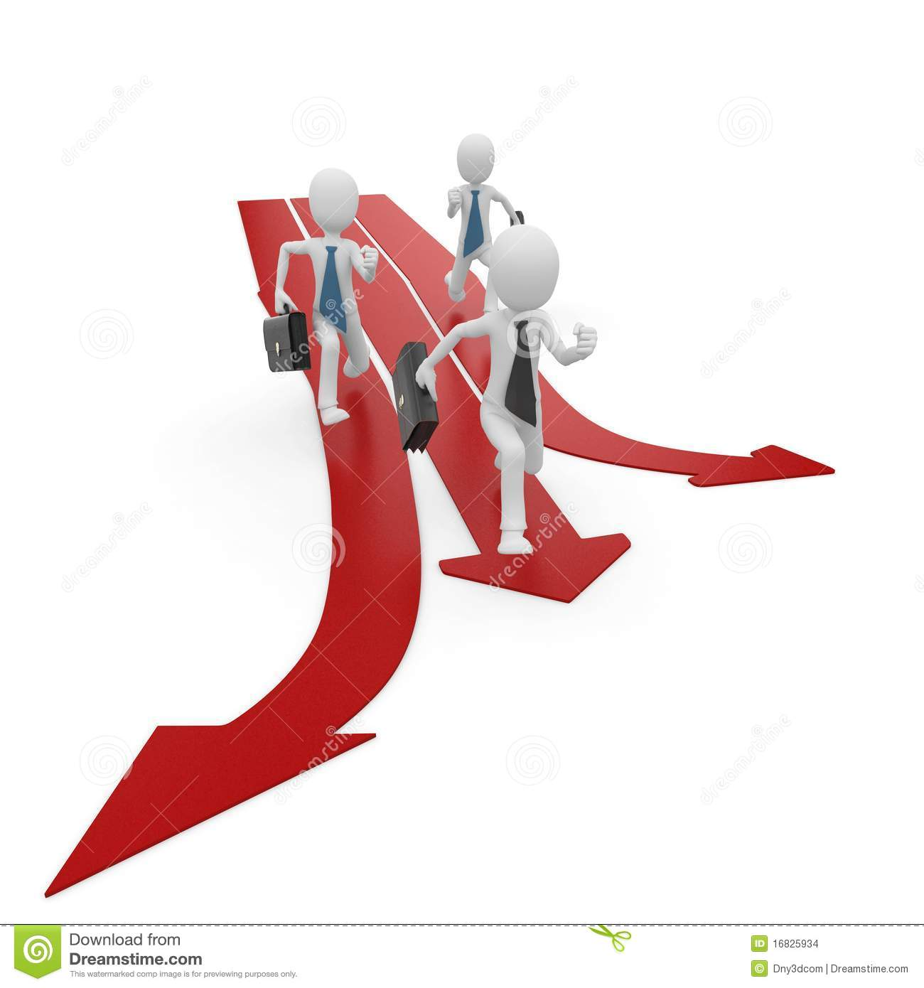 3d Man Race With Multiple Arrow Paths Stock Images - Image ...