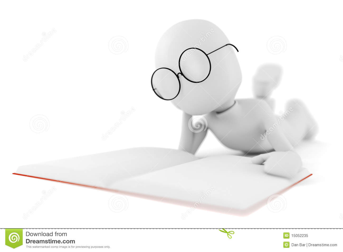 3d man reading a - photo #13