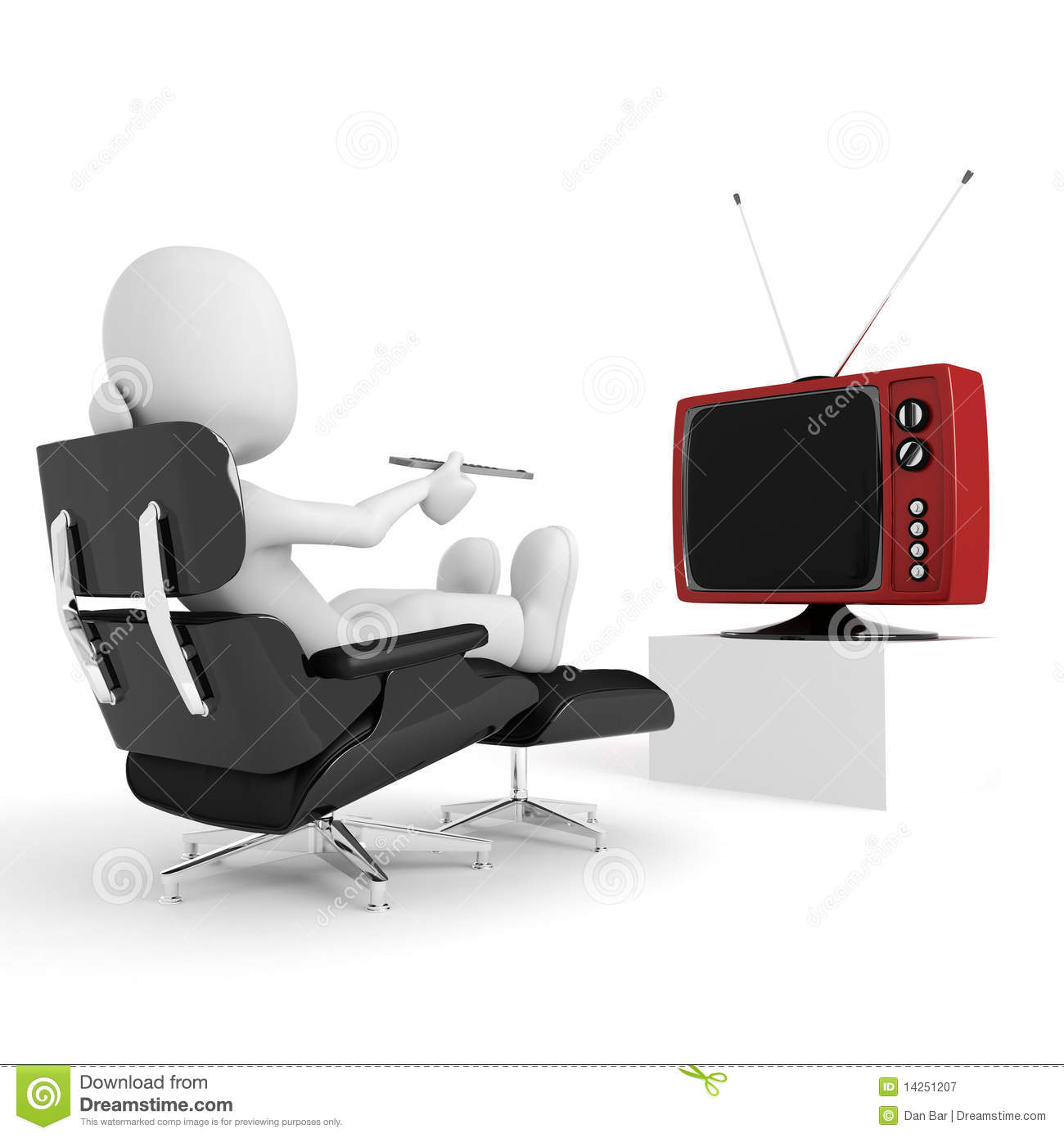 3d Man Relaxing And Watching Tv Studio Render Royalty