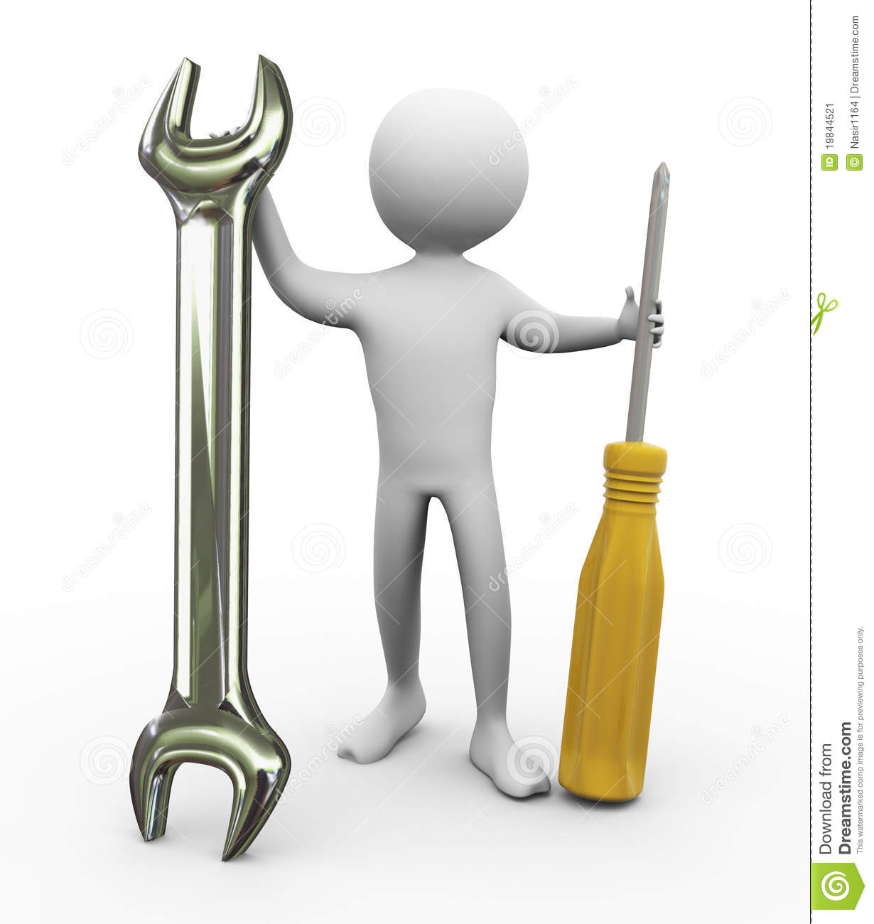 3d Man With Repairing Tools Stock Illustration