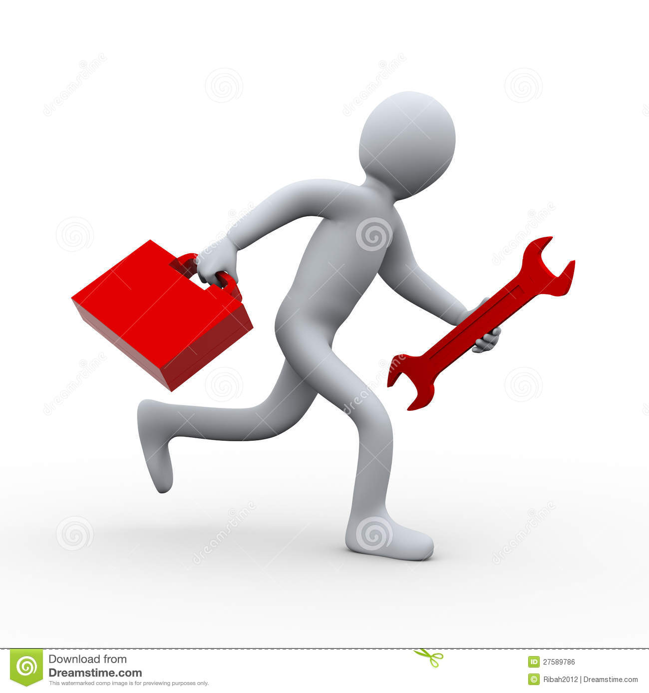 3d man running with wrench and toolbox royalty free stock 3d tool free