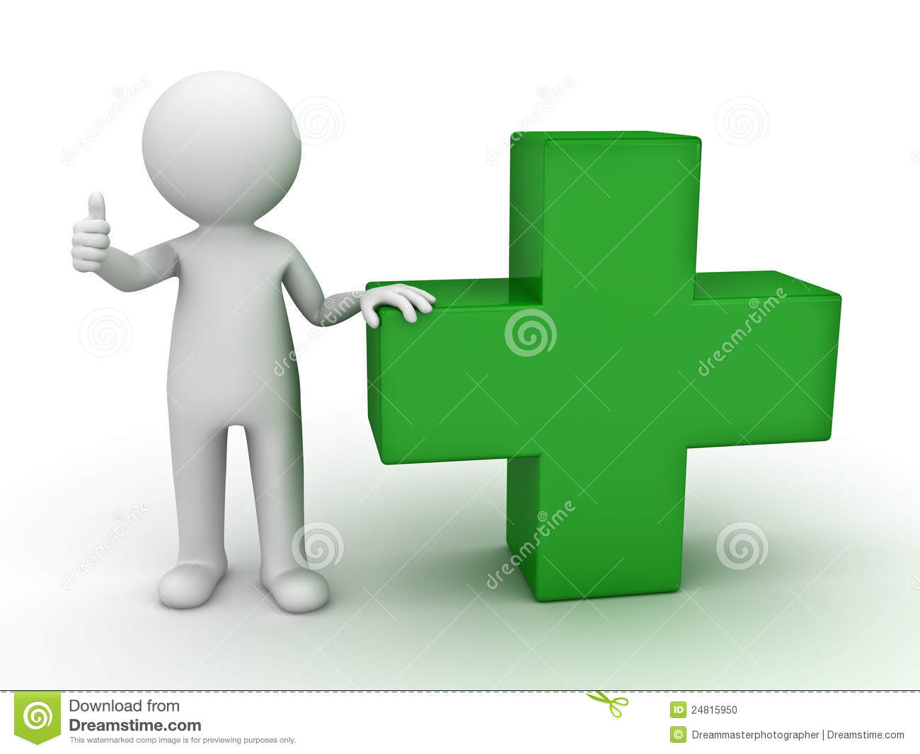 3d man showing thumb up with green plus sign stock photo