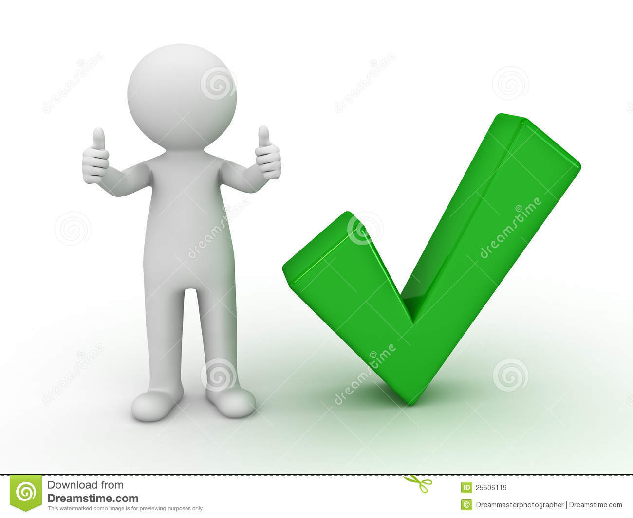 3d man showing thumbs up with green check mark stock illustration