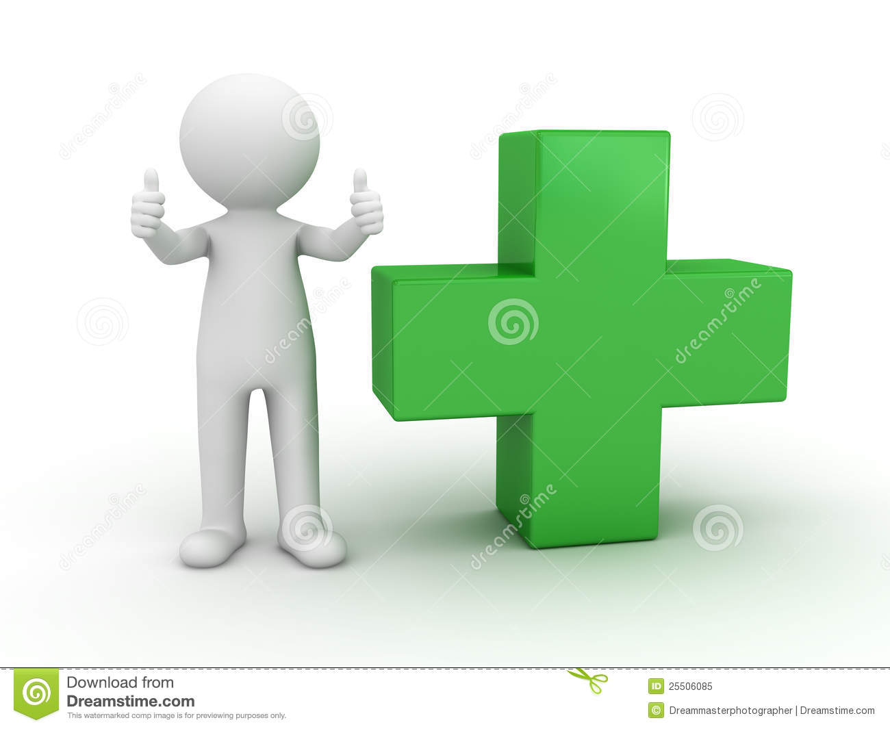 3d man showing thumbs up with green plus