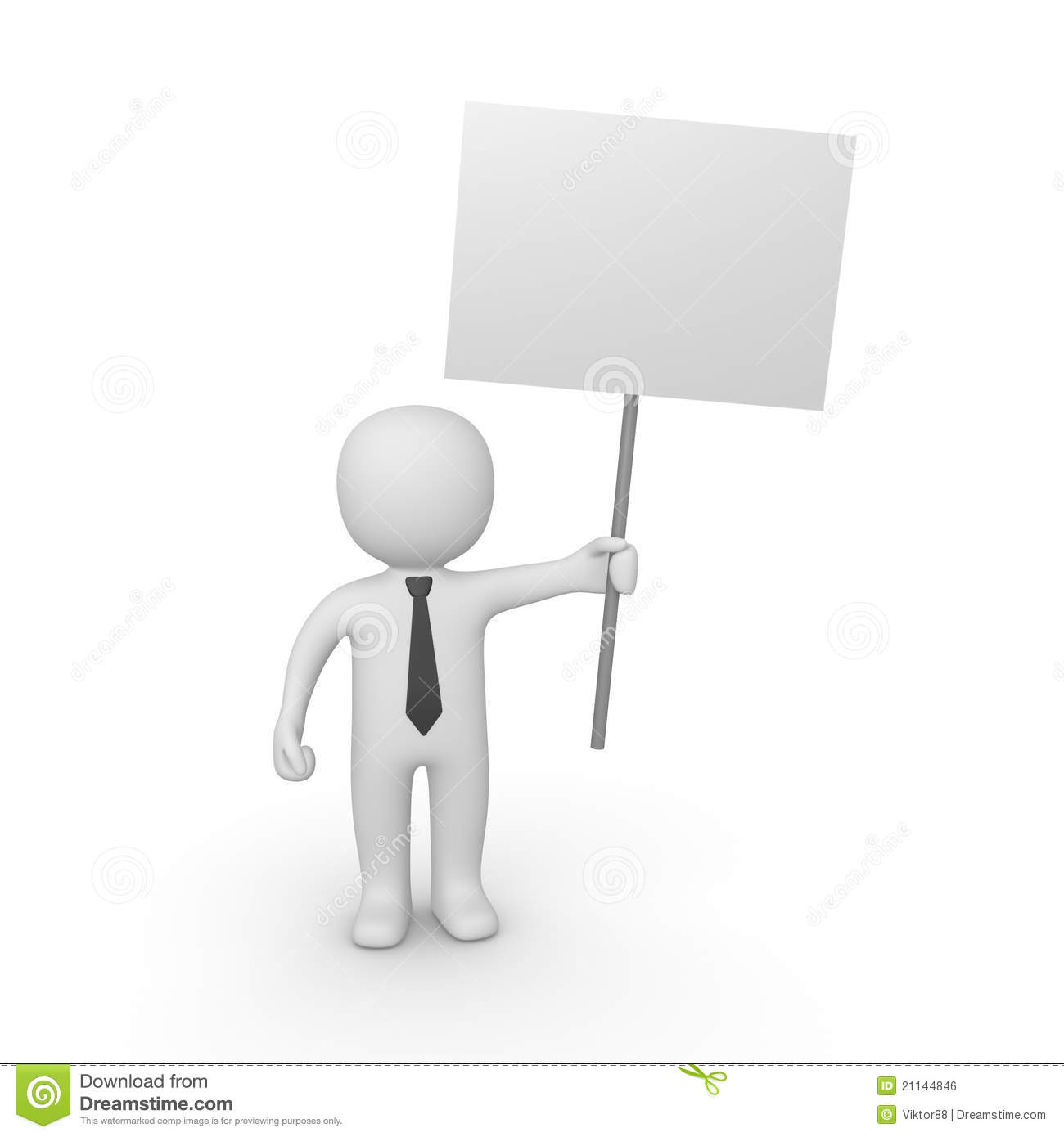 3d man with sign board