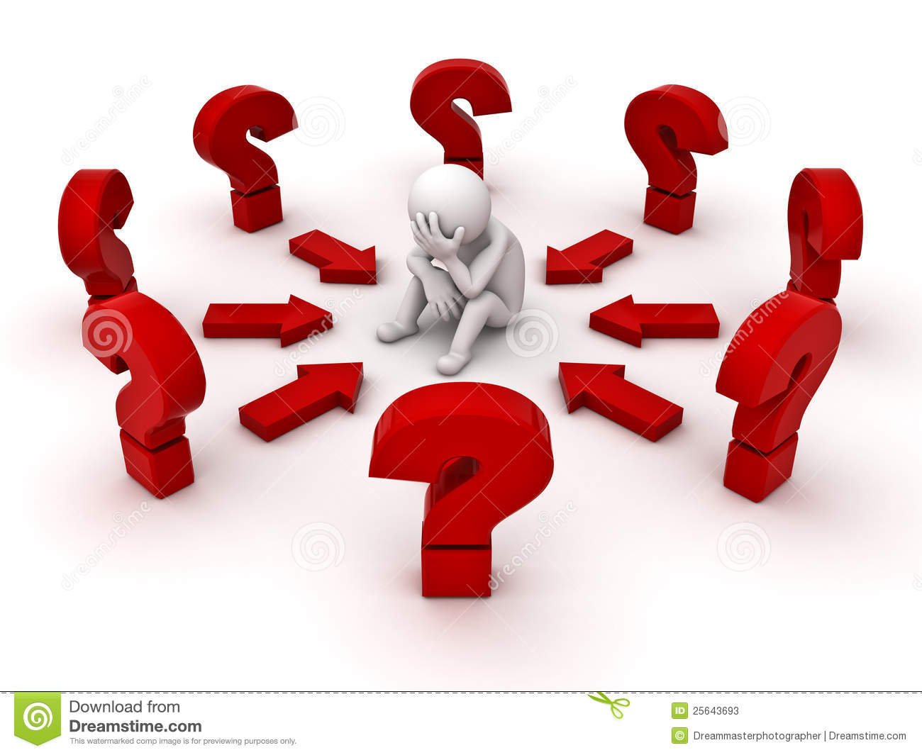 Stressed 3d man sitting amongst red question marks on white background ...