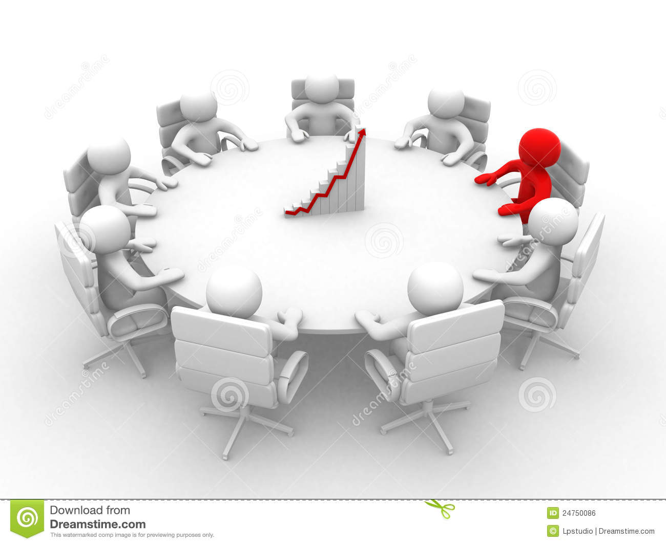 3D Man Sitting At A Round Table And Having Business ...