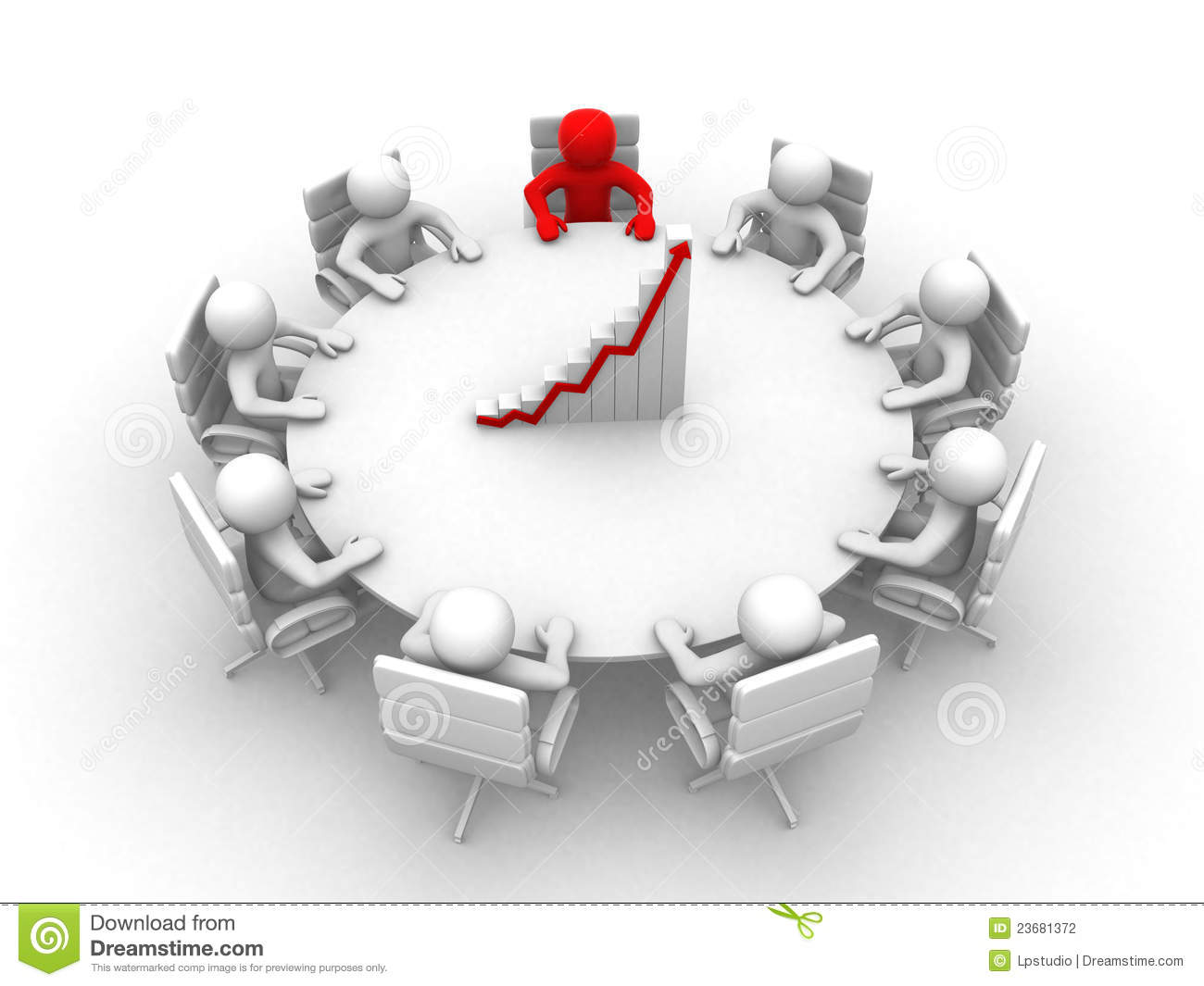 3d Man Sitting At A Round Table And Having Meeting Stock