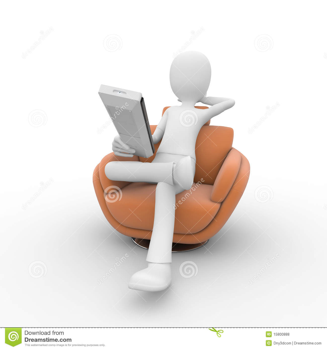 3d Man With Sofa And Remote Royalty Free Stock Photos