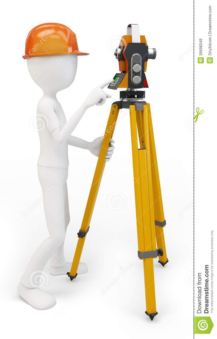 3d Man With Station Surveying Stock Illustration Image