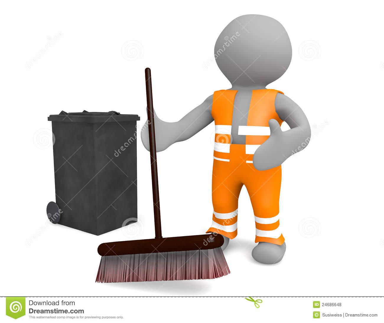 3d man street sweeper dressed in high visibility orange clothing and ...