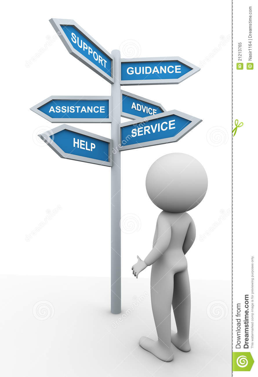 3d man and support signpost