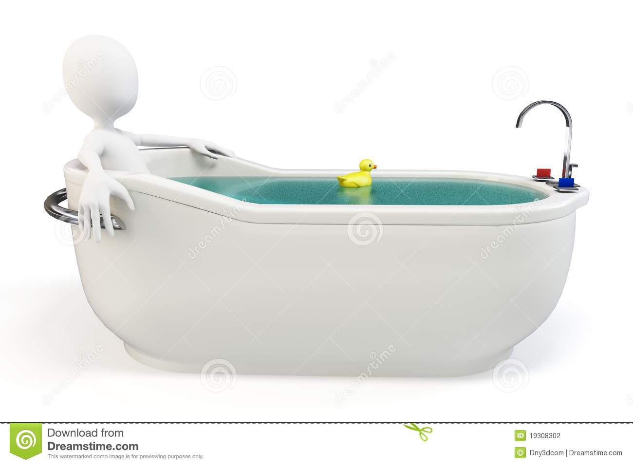3d Man Taking A Bath With A Swimming Duck Stock