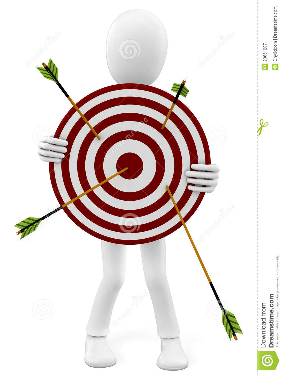 Download 3d Man With Target And Arrows Stock Illustration