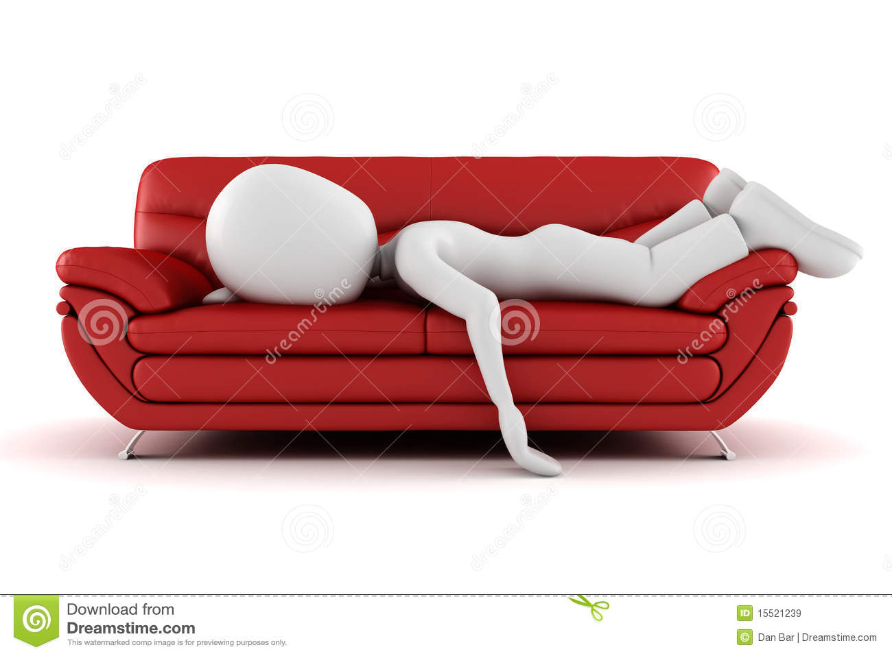 3d Man Tired Sleeping On The Couch Royalty Free Stock