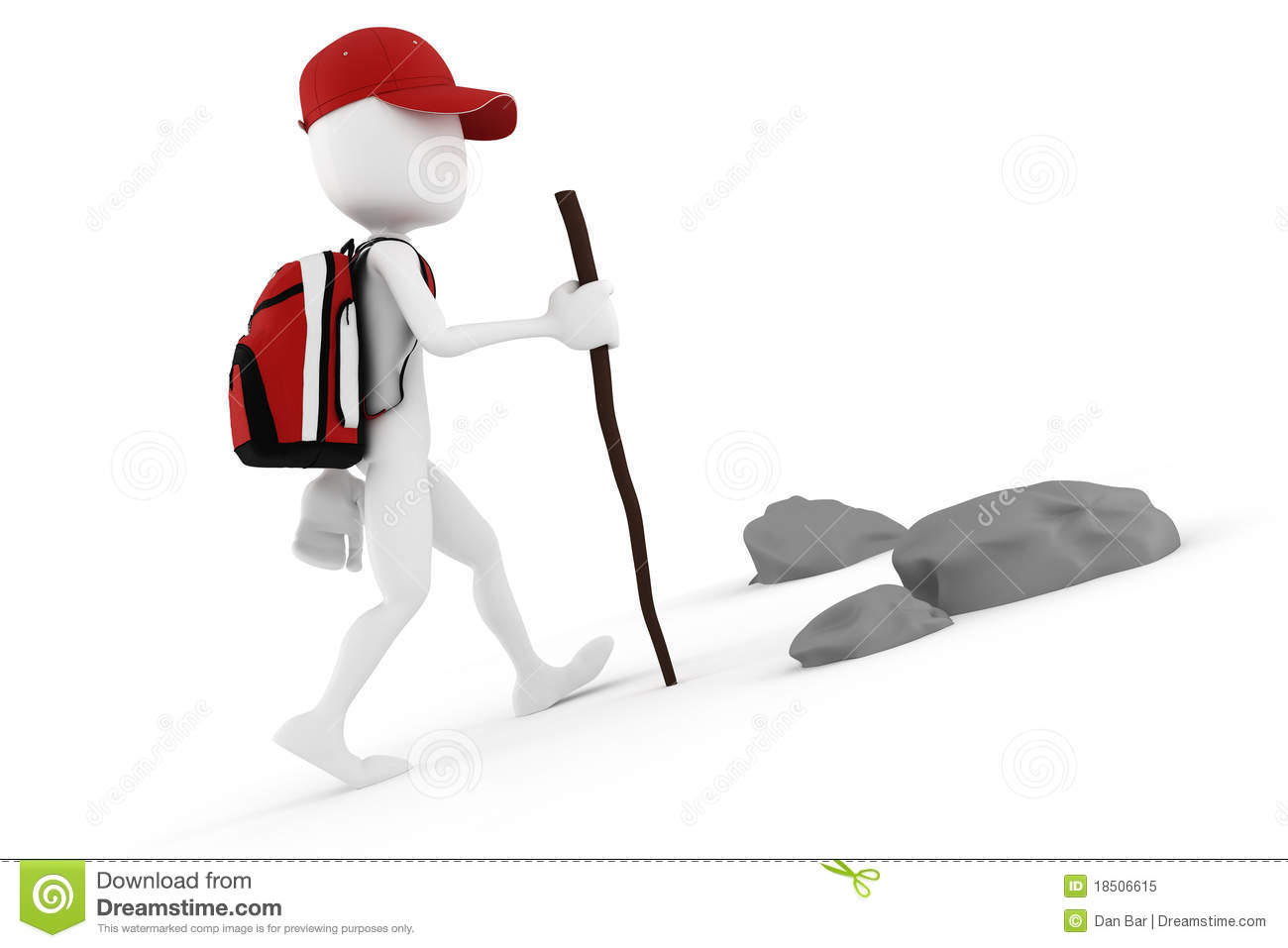 3d Man Tourist With A Big Red Backpack Stock Illustration