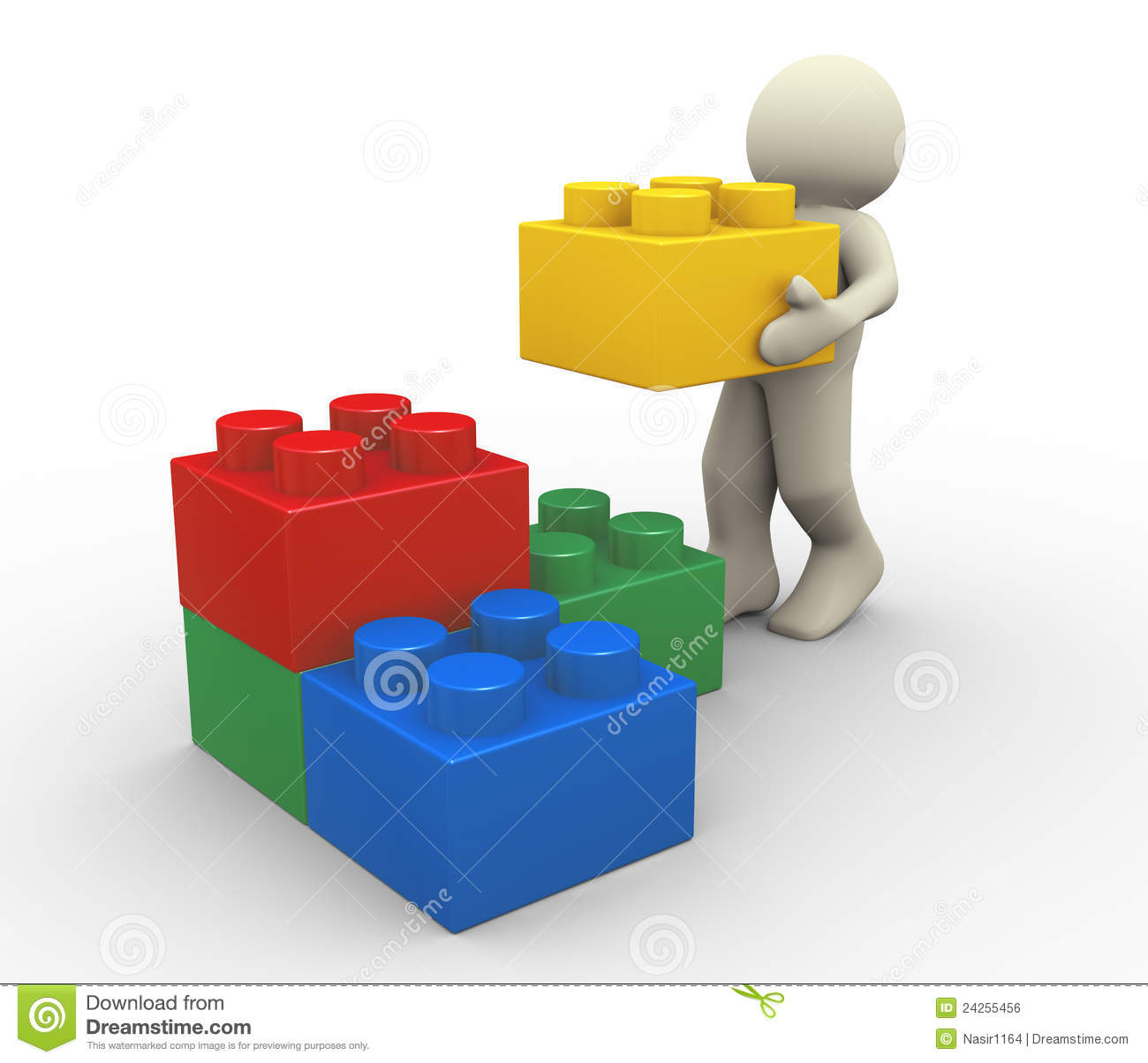3d Man And Toy Blocks Royalty Free Stock Image - Image ...
