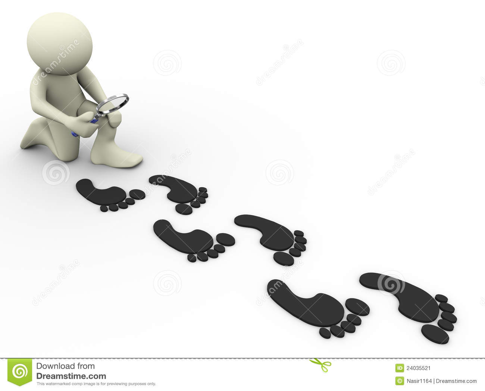 3d Man Tracing Footprints Stock Image Image 24035521