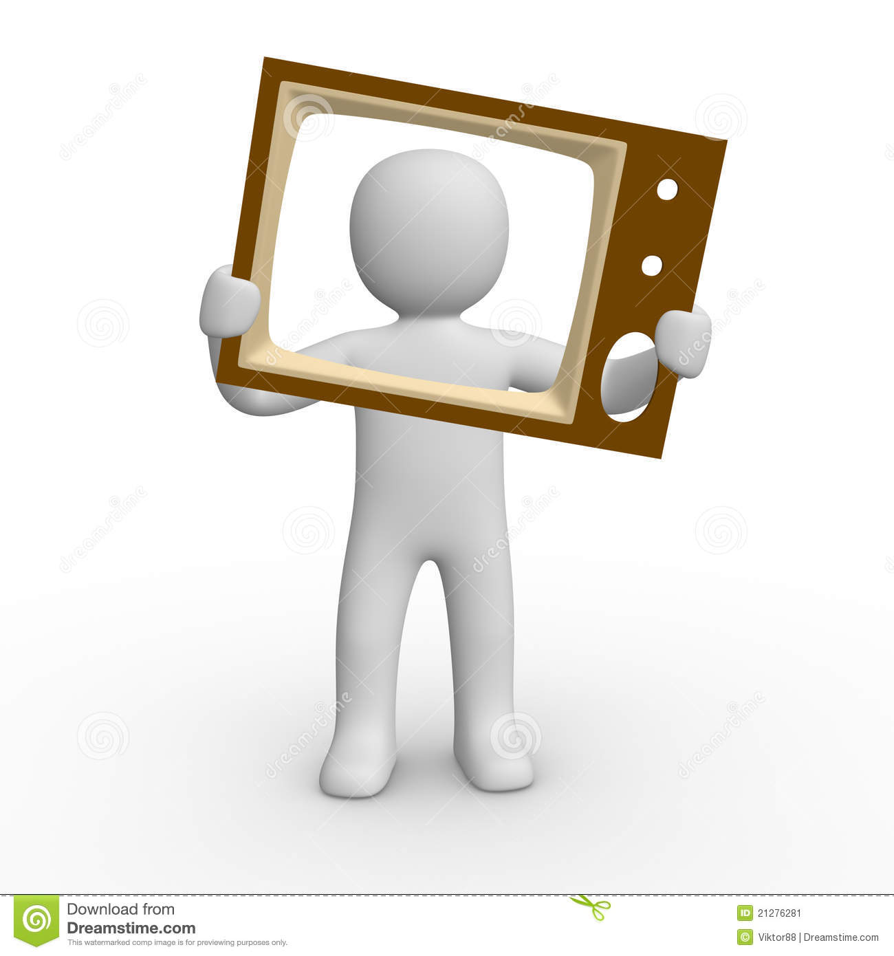 3d Man With The TV Screen Stock Image Image 21276281