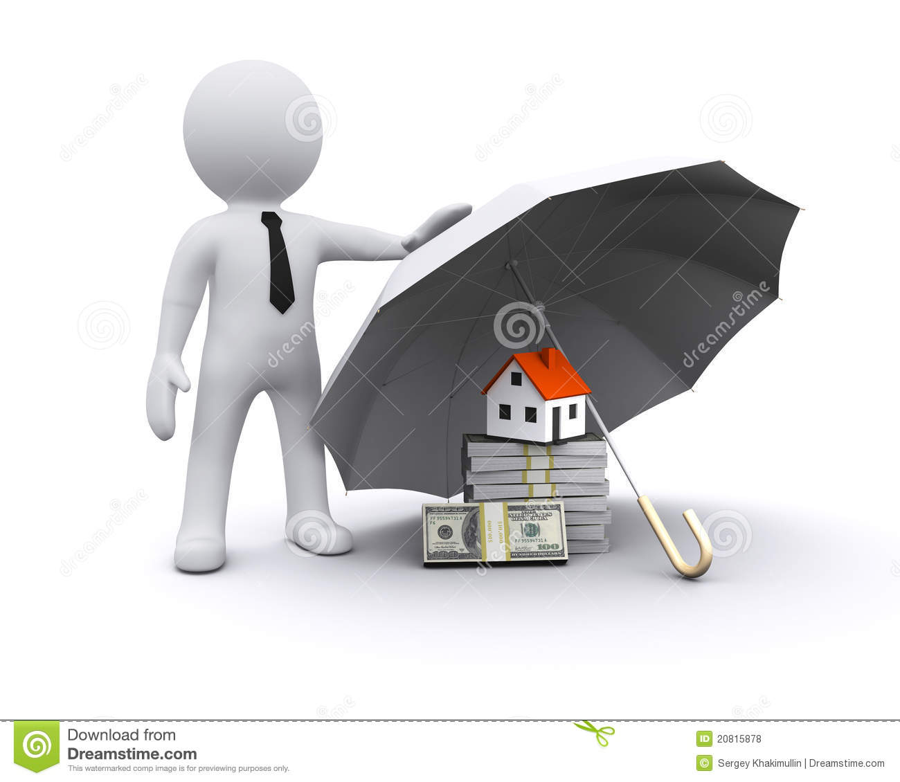 3D Man With Umbrella Royalty Free Stock Photos Image