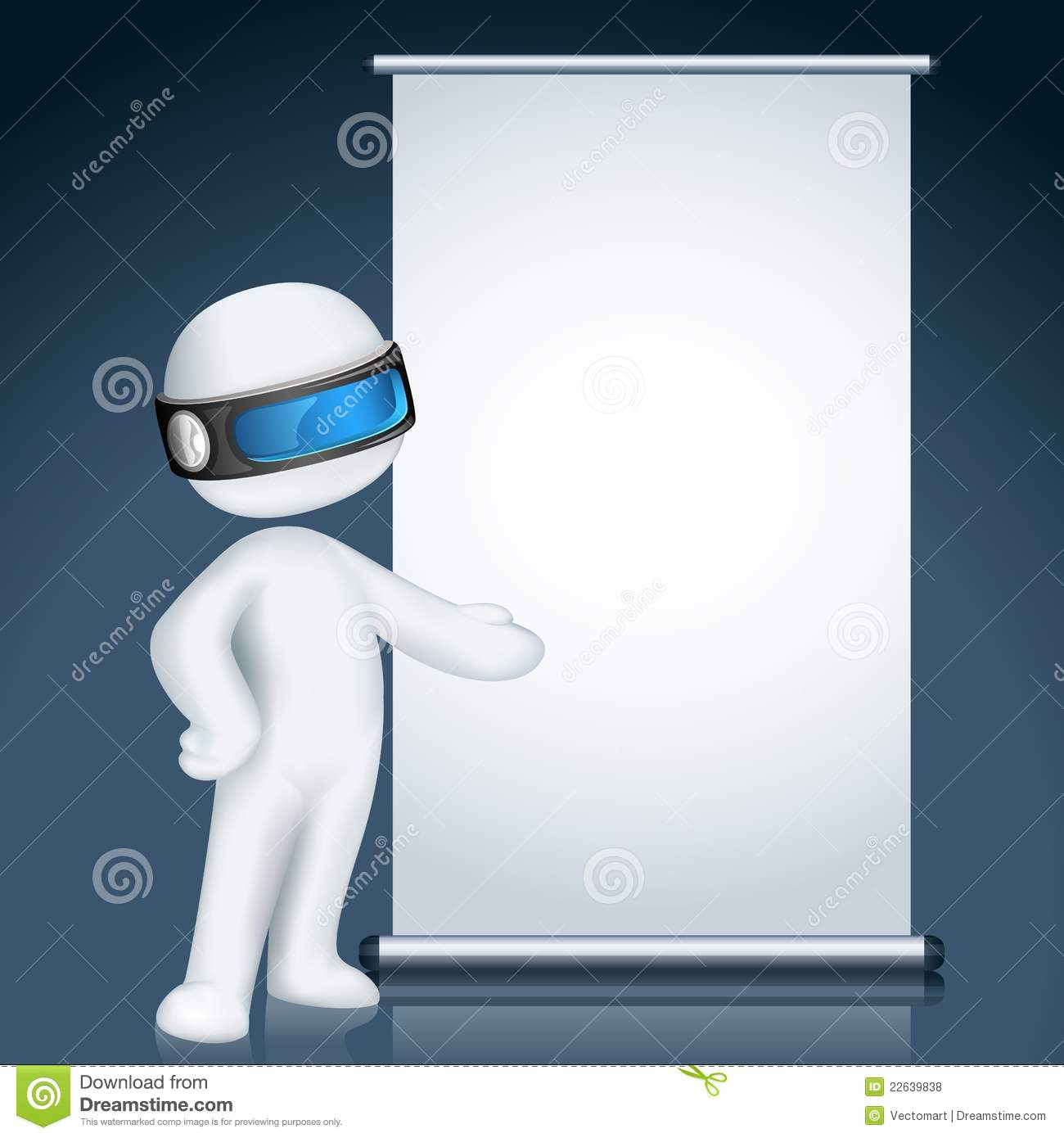 3d man in Vector with Display Board