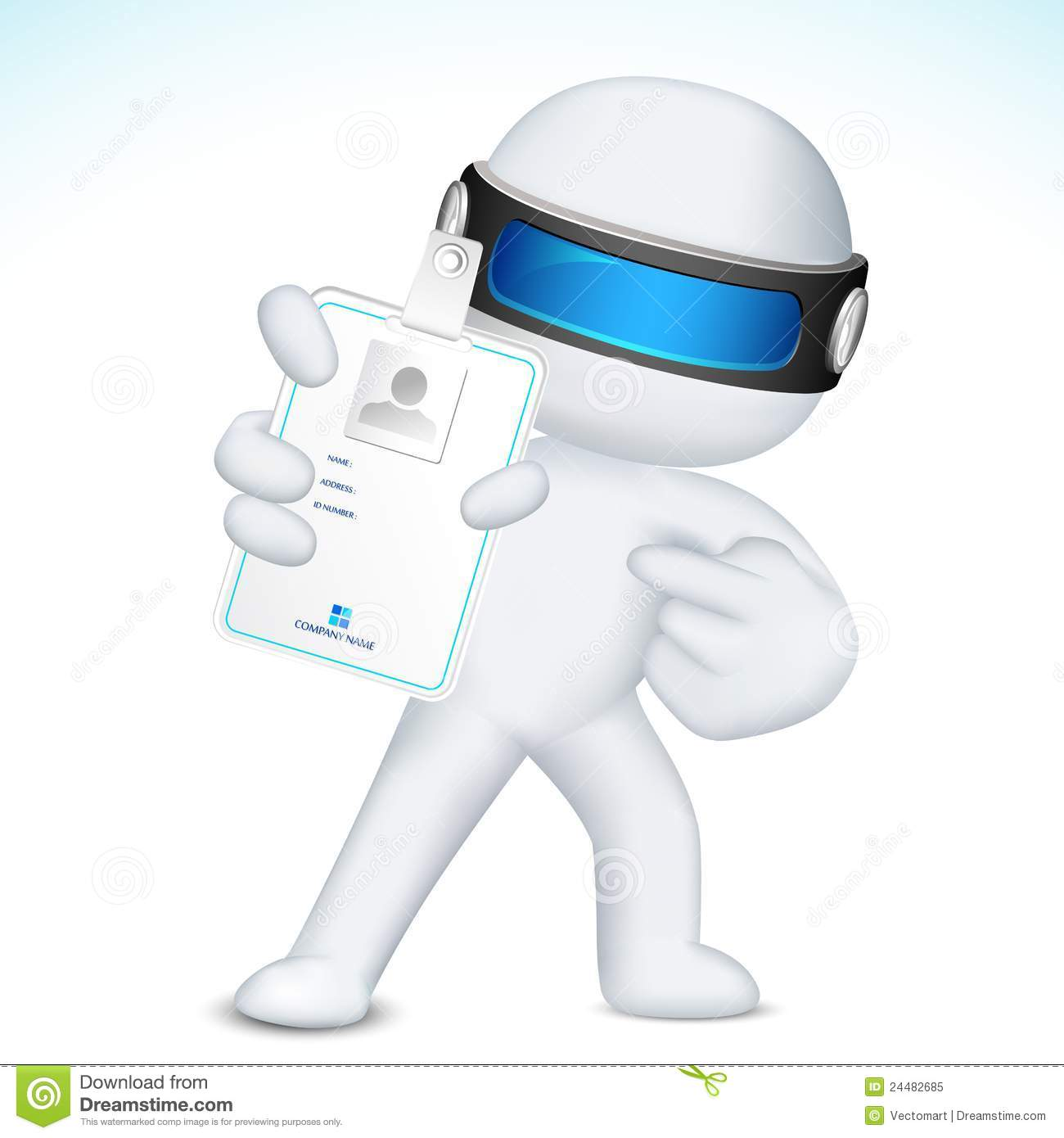 3d man in vector showing identity card royalty free stock photo
