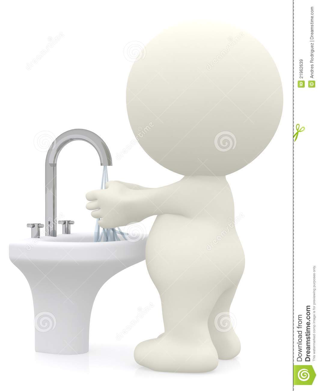 3D Man Washing His Hands Royalty Free Stock Images - Image: 21962639