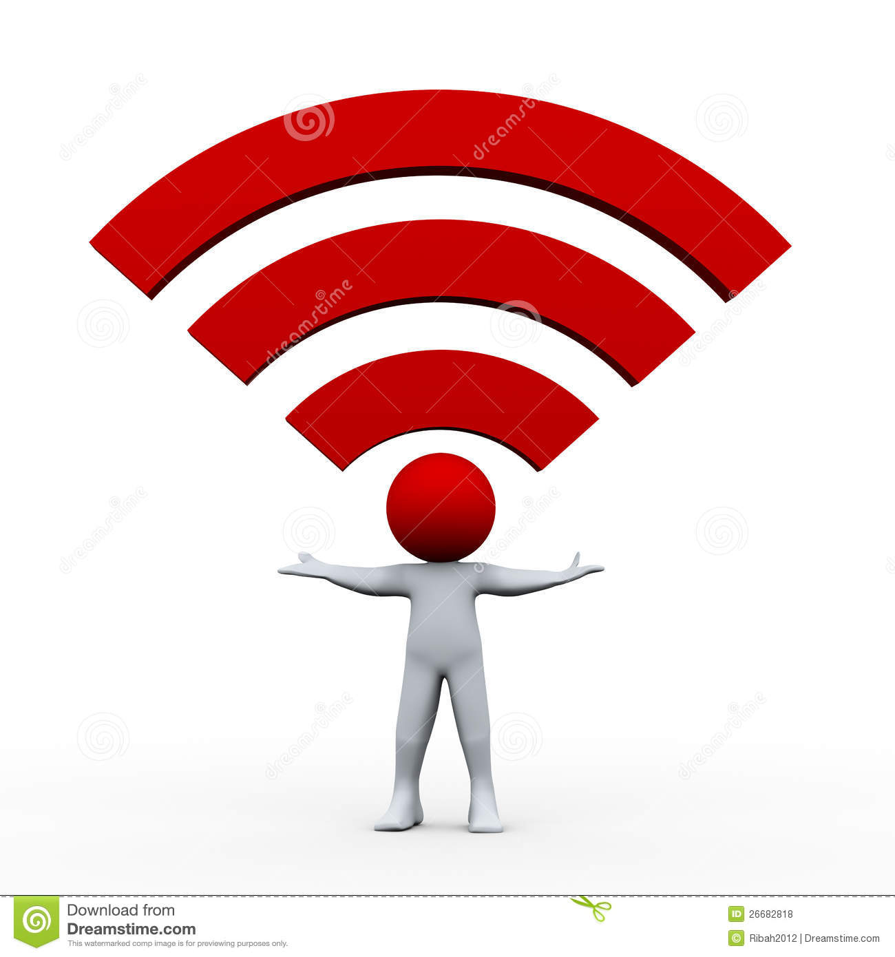 3d Man And Wifi Icon Royalty Free Stock Photos Image