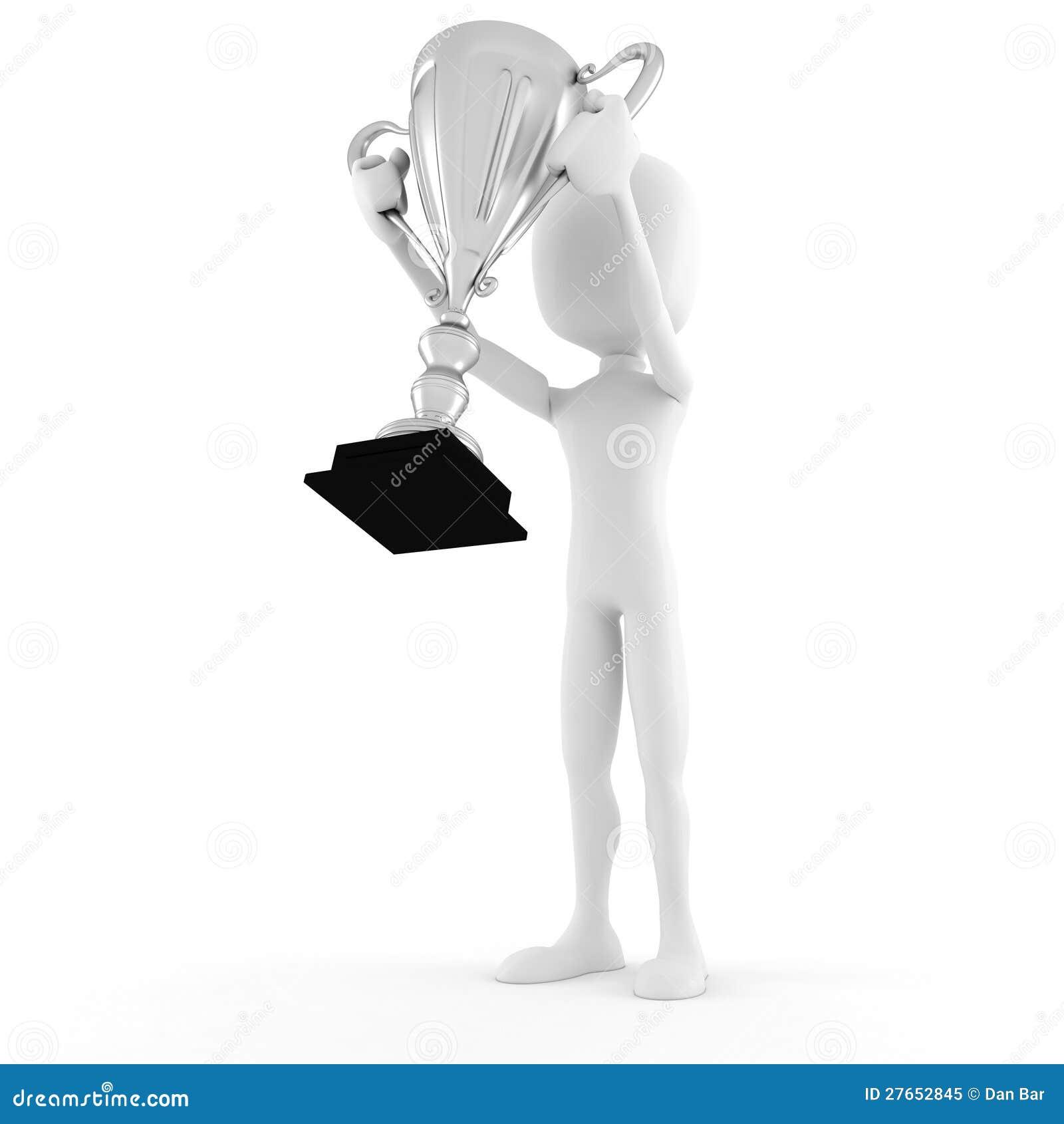 3d man winner holding a big trophy