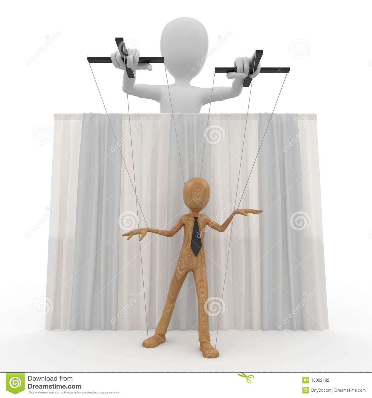 3d Man With Wooden String Puppet Stock Photography - Image ...