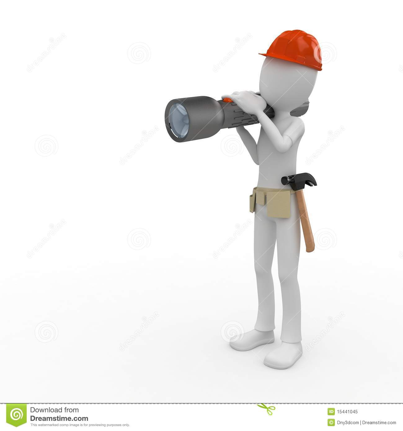 3d man worker with flashlight