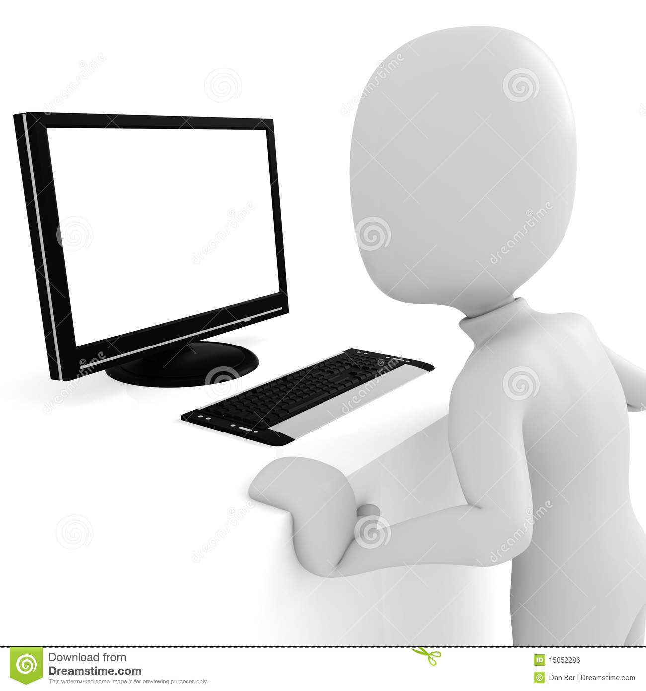Royalty free stock image 3d man working at computer