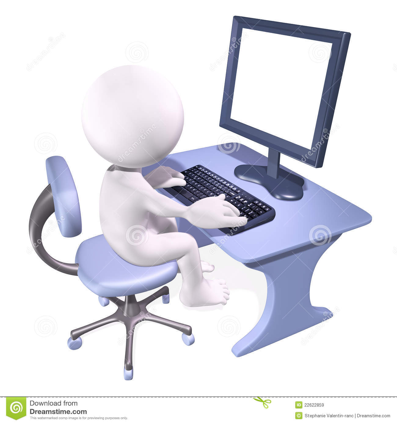 3d Man Working On Computer Royalty Free Stock Images - Image: 22622859