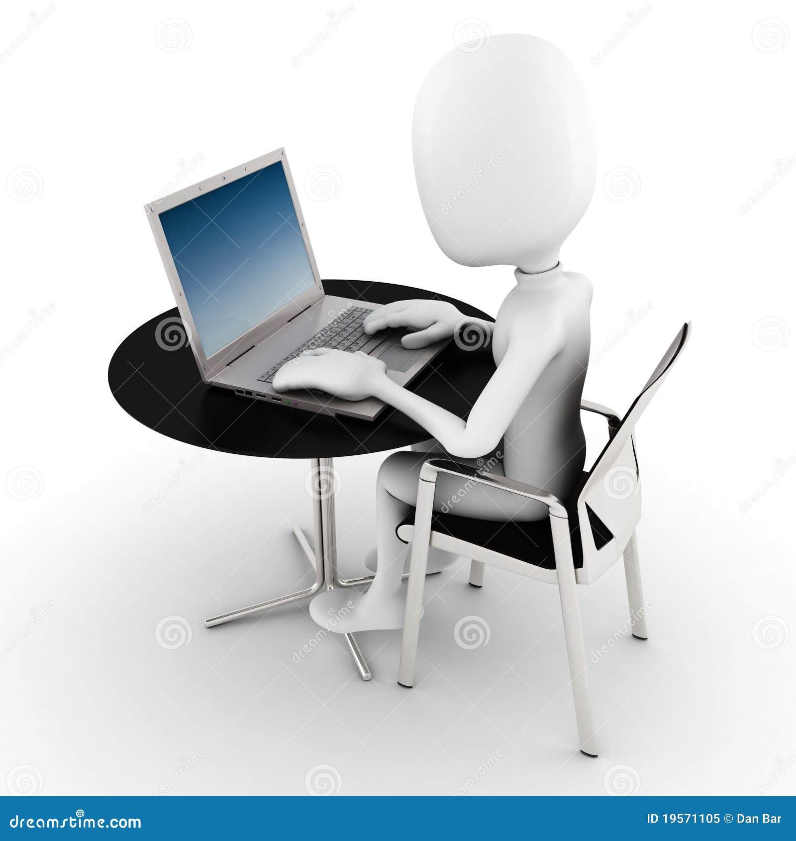3d Man Working At His Laptop Royalty Free Stock Photo - Image
