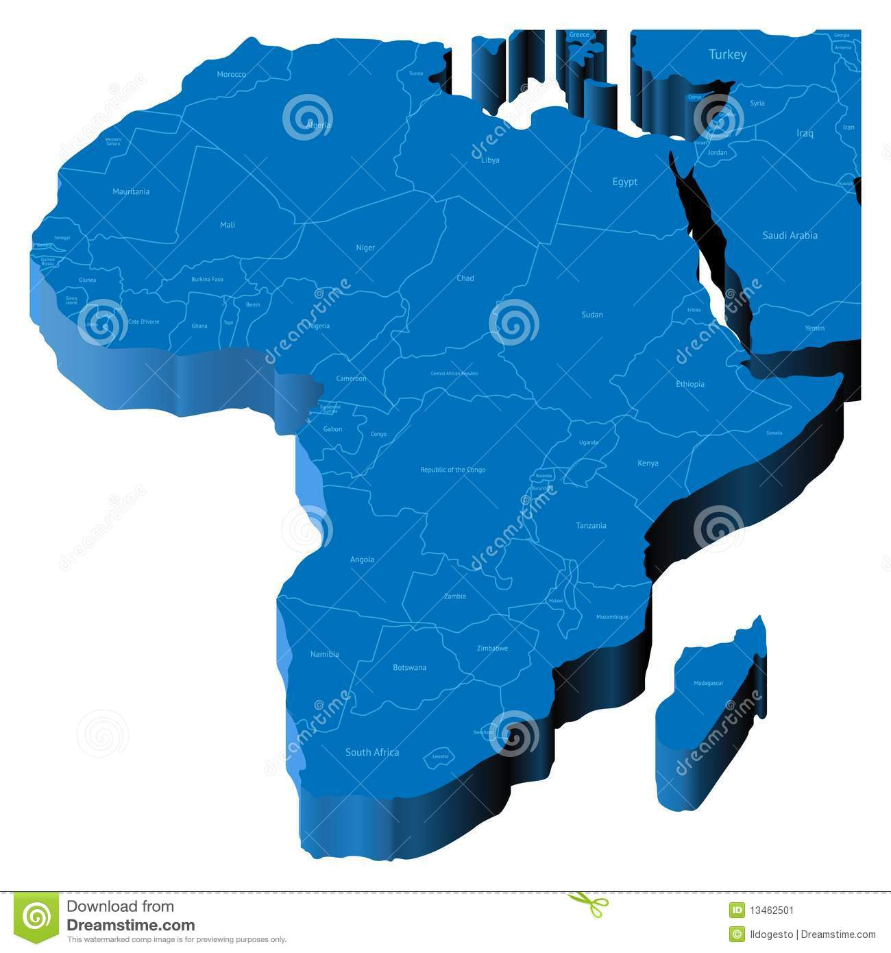 Map Of Africa 3d.3d Map Of Africa Stock Vector Illustration Of Nobody 13462501