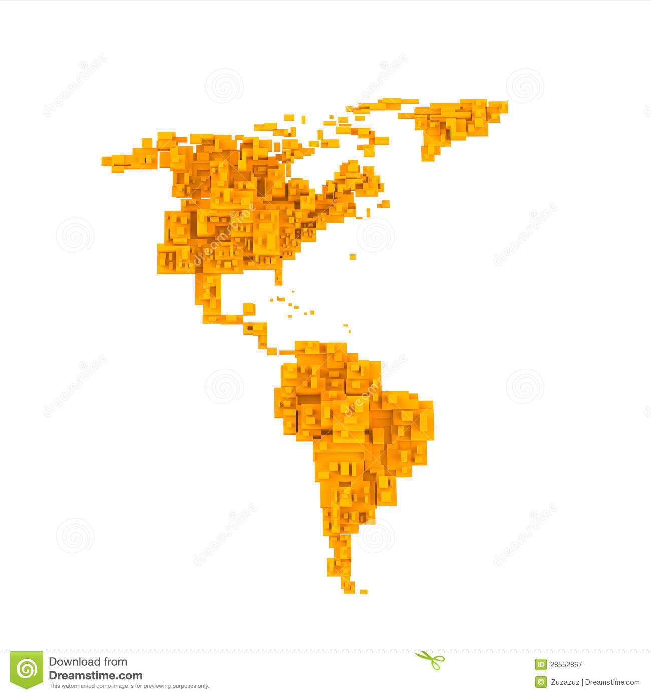 3d color map of south and north american countries royalty free