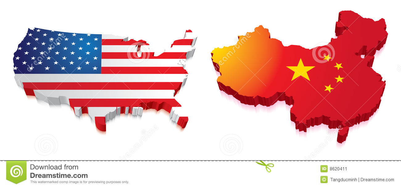 3D Map Of China And US With Flag Stock Illustration   Illustration