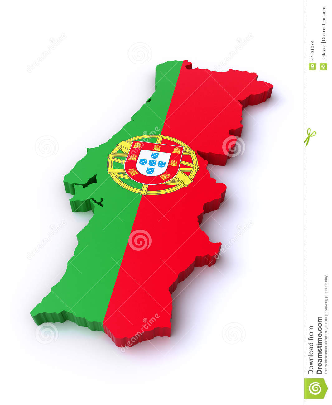 mapa de portugal em 3d 3d map of Portugal stock illustration. Illustration of green  mapa de portugal em 3d