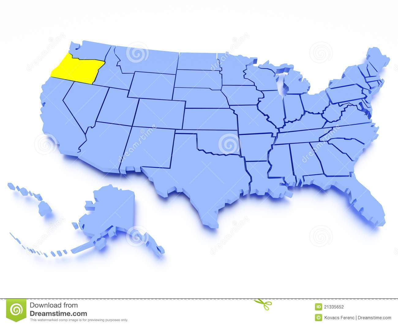 3D Map Of United States  State Oregon Stock Photography
