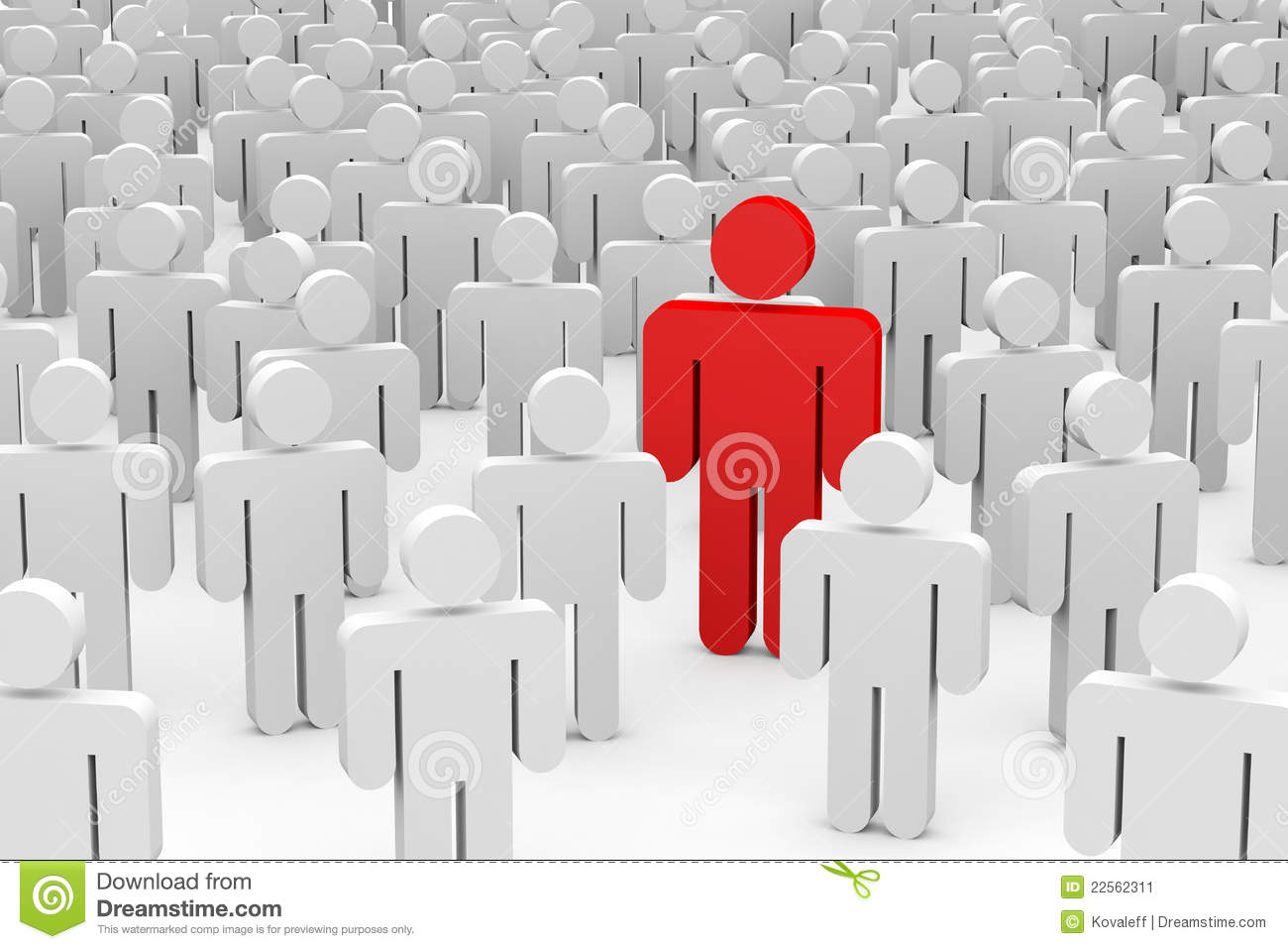 3D men in crowd. Concept of individuality.
