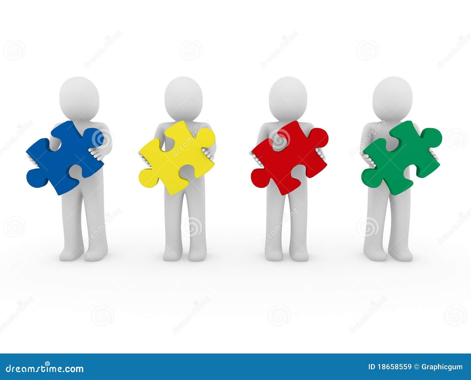 3d Men Puzzle Teamwork Royalty Free Stock Images Image