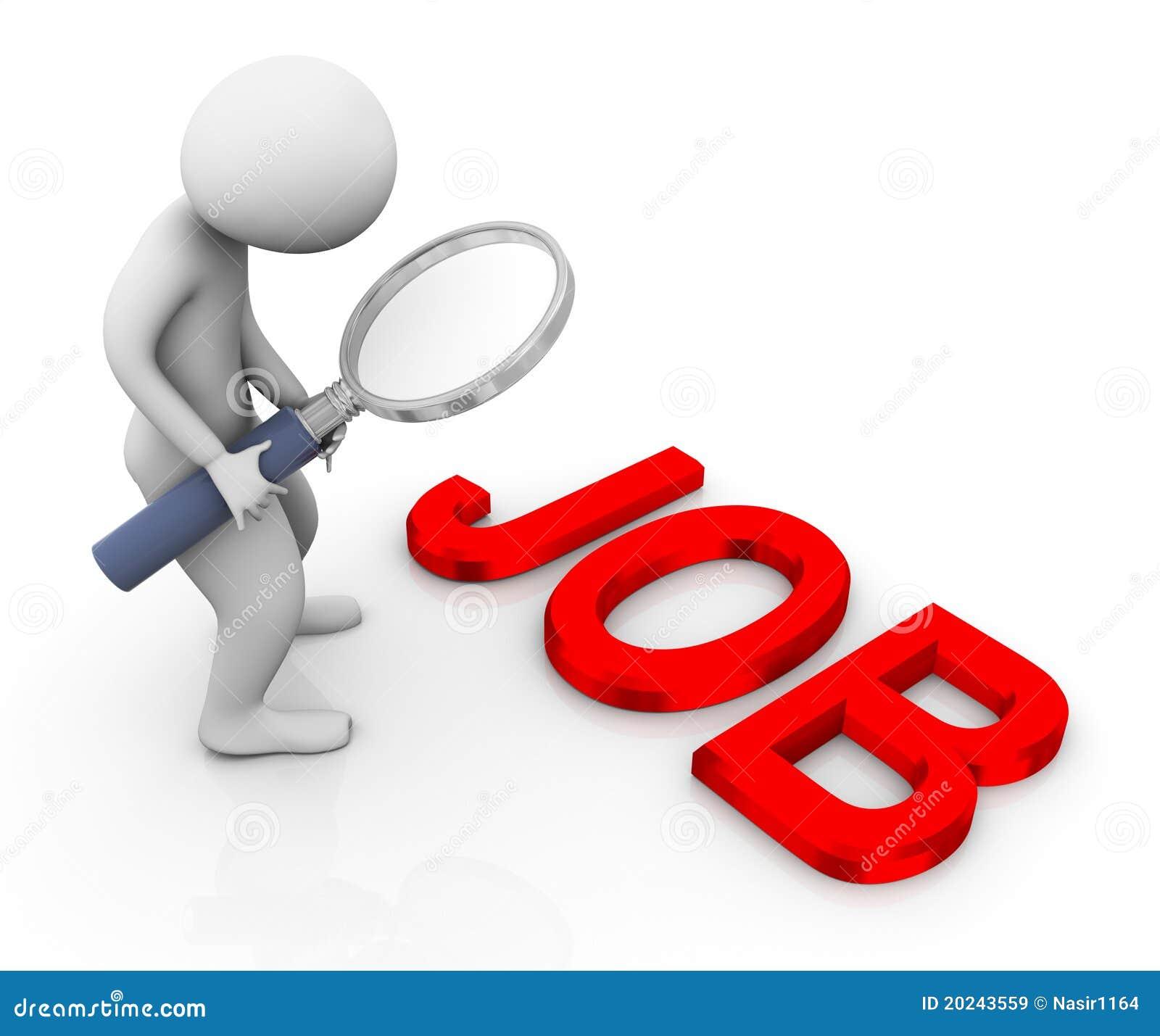 3d mens die baan zoekt