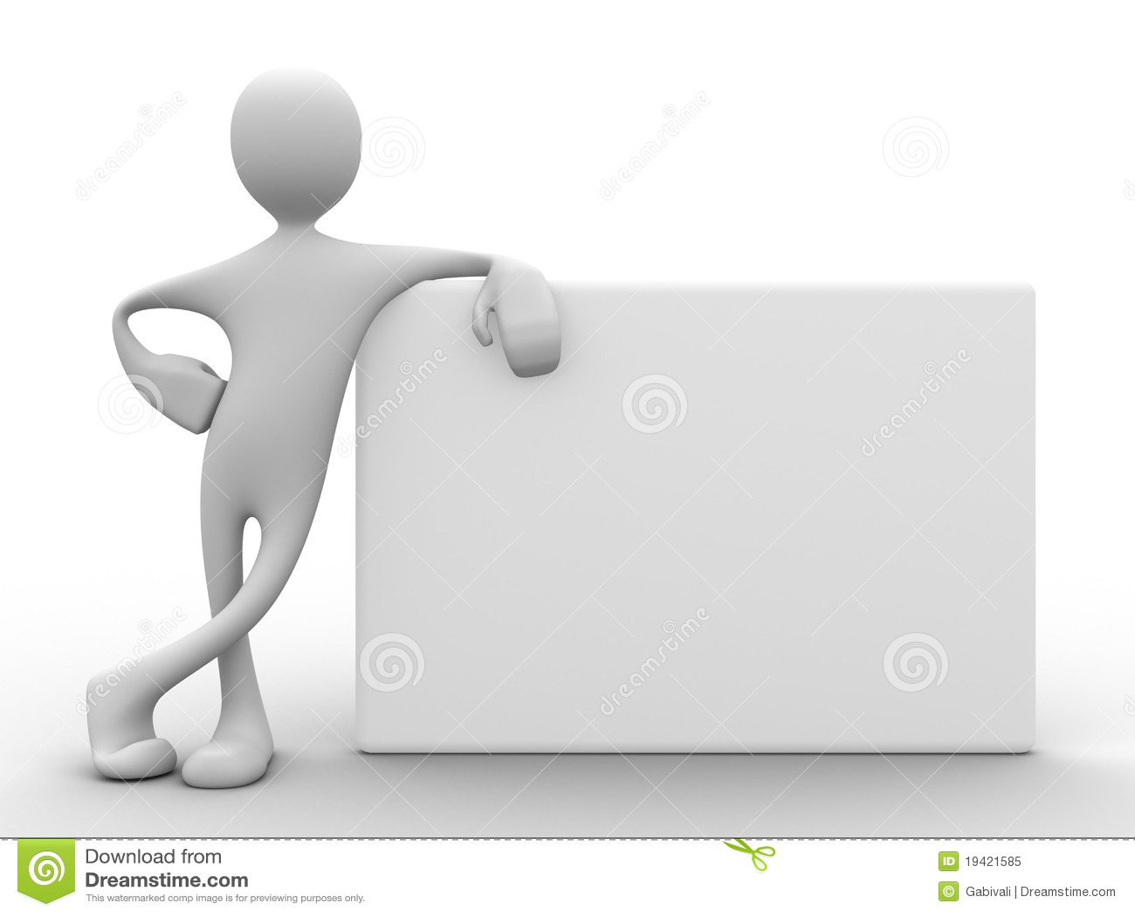 3d mens die op witte raad leunt