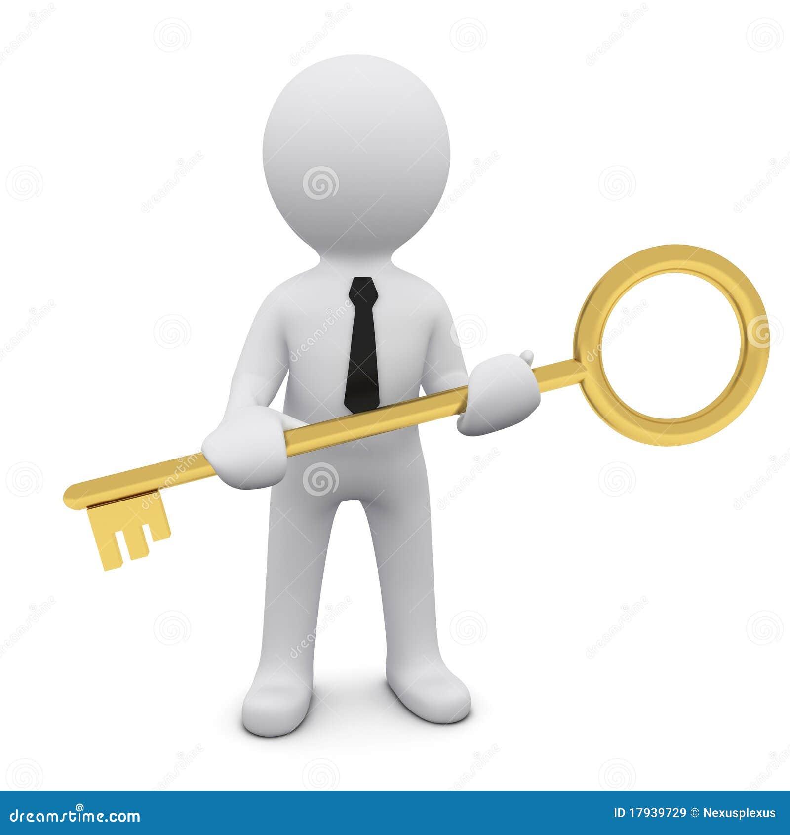 3D mens met een sleutel