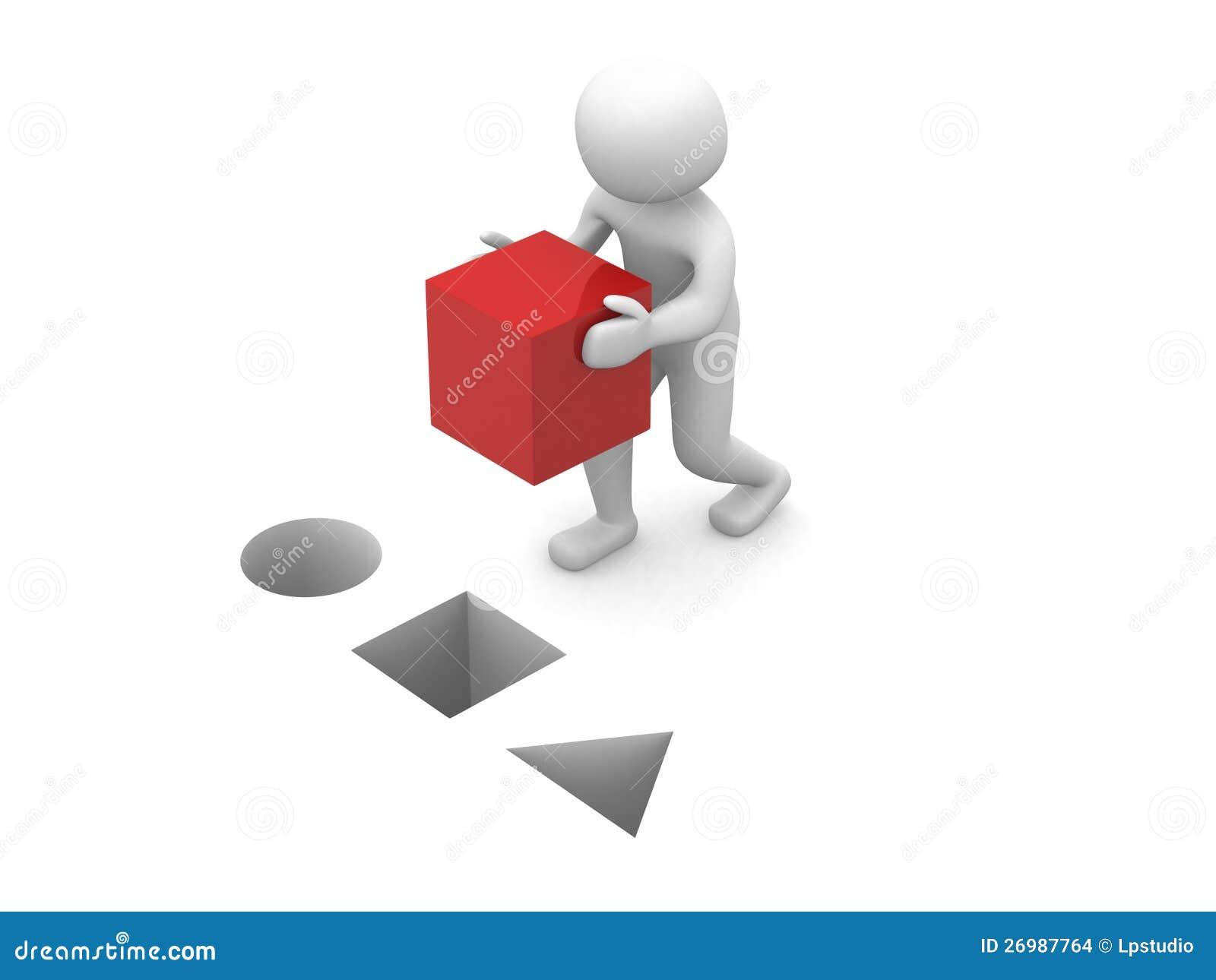 3d mens met rode kubus