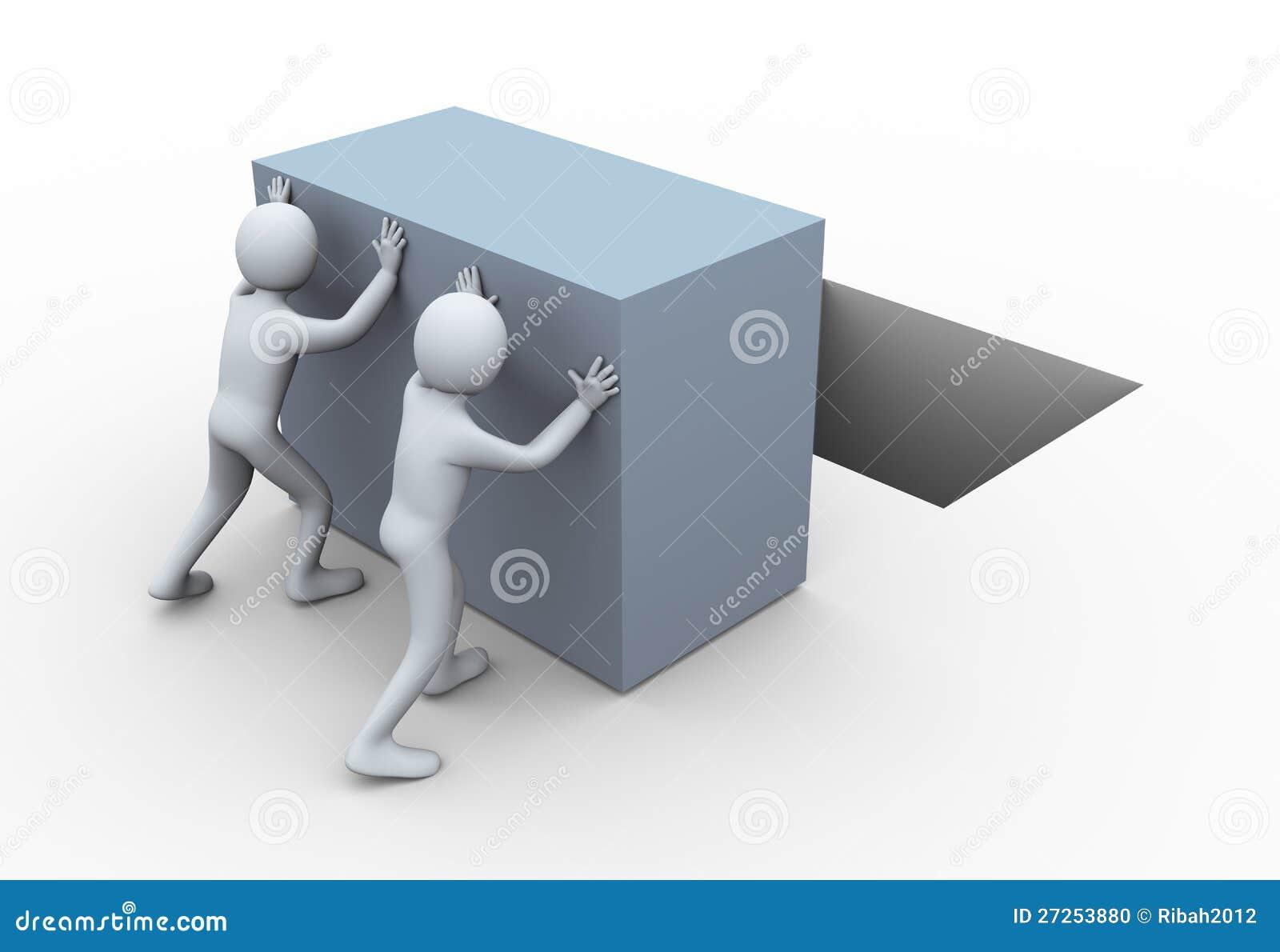 3d mensen die kubus duwen.