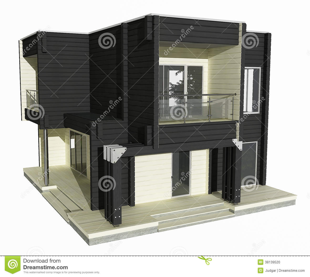 3d model of black and white wooden house on a white background