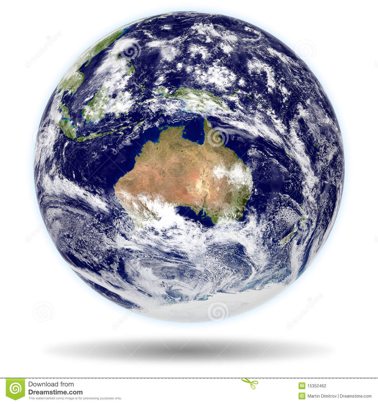 3d model of earth   australia and new zealand view stock illustration