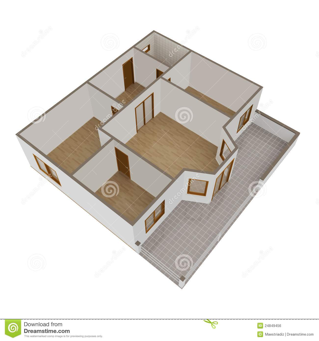 3d model flat with balcony royalty free stock image for Balcony models